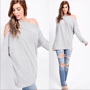 Gray Off / Cold Shoulder Long Sleeve Sweater Tunic